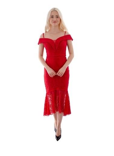 Belamore  Kırmızı Ip Askılı Dantelli Kayık Yaka Abiye & Mezuniyet Elbisesi 1301460.08 Kırmızı